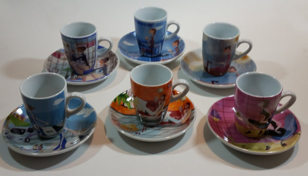 Vintage Cafe Pattern Girls Cup & Saucer Set of 6 in Box - Treasure Valley Antiques & Collectibles