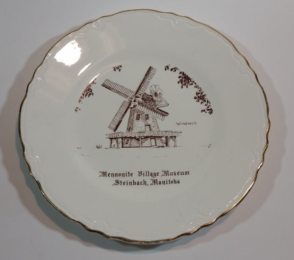 Vintage Mennonite Village Museum Steinbach, Manitoba 22K Gold Windmill Plate - Treasure Valley Antiques & Collectibles