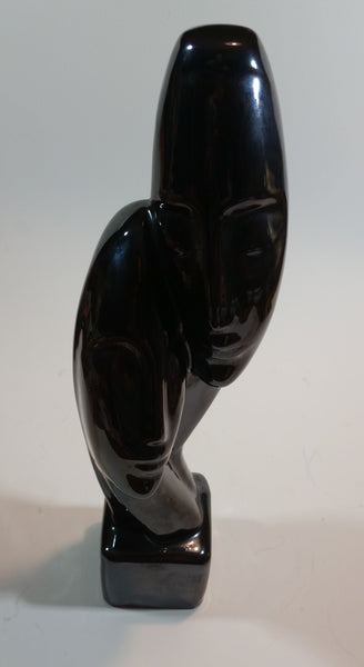 1950s Black Ceramic Sculpture Abstract Heads in Haeger Style Signed SIBLIN
