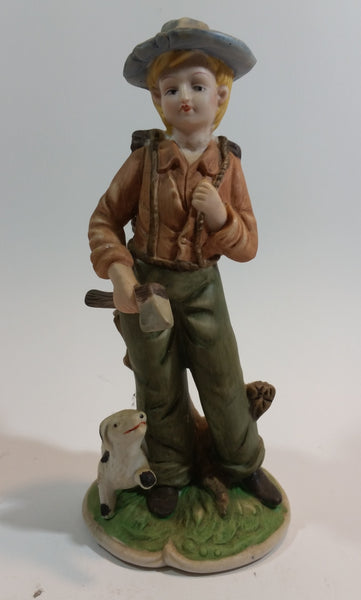 Vintage 1960s Ardco Taiwan Porcelain Bisque Female Woodsman with Dog Figurine - Treasure Valley Antiques & Collectibles
