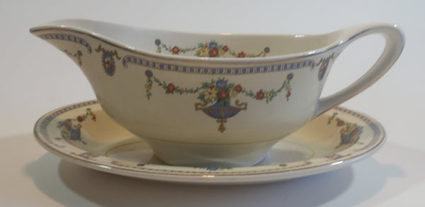"Rare 1930s Johnson Bros England Pareek ""The Adam"" Gravy Boat and Saucer Plate - Treasure Valley Antiques & Collectibles"