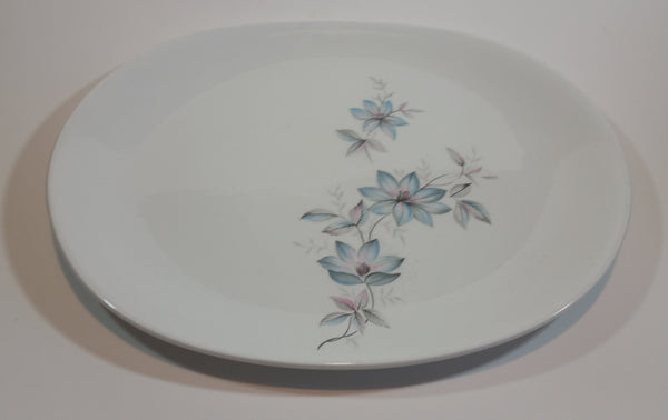 "1950s Johnson Bros England Snowhite Floral Ironstone Serving Platter 12"" x 9.5"" - Treasure Valley Antiques & Collectibles"