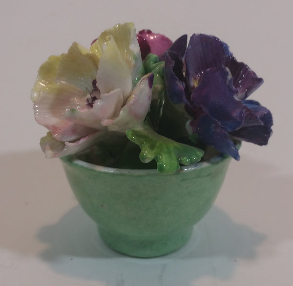 Vintage Staffordshire Bone China Porcelain Floral Flower Bouquet (Green Planter) - Treasure Valley Antiques & Collectibles