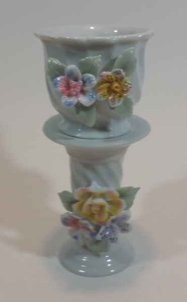 Decorative Floral Porcelain Pedestal Planter in Box (Never used) - Treasure Valley Antiques & Collectibles