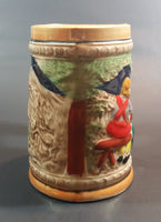 1950s German Oktoberfest Beer Stein Cabin Woodsman Life Made in Japan - Treasure Valley Antiques & Collectibles