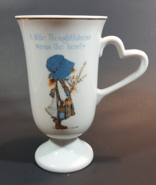 "Rare 1982 Holly Hobbie ""Blue Girl"" Porcelain Tall Tea Cup with Gold Trim"