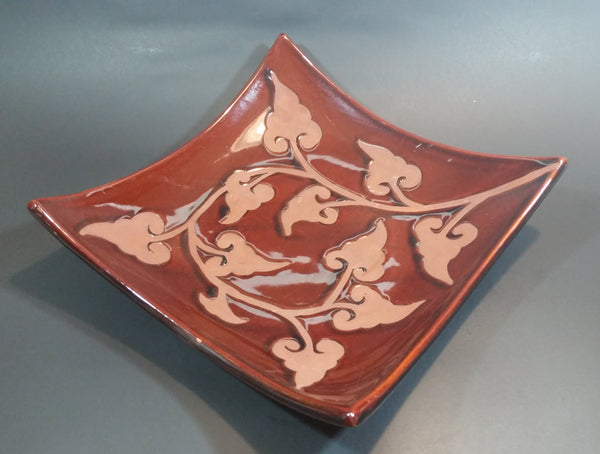 Vintage Brown Autumn Leaves Bent Glass Style Ceramic Platter - Treasure Valley Antiques & Collectibles