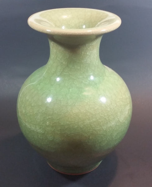 "Modern Luxurious Chinese Imperial Guan Celadon Green Crackle Glaze 10"" Tall Vase - Treasure Valley Antiques & Collectibles"
