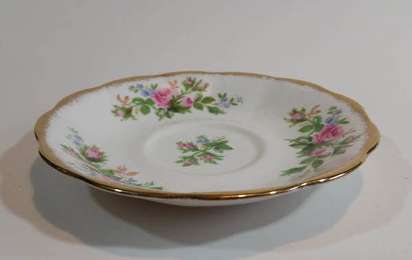1950s Royal Albert Pink & Blue Floral Gold Trimmed Tea Cup Saucer - Treasure Valley Antiques & Collectibles