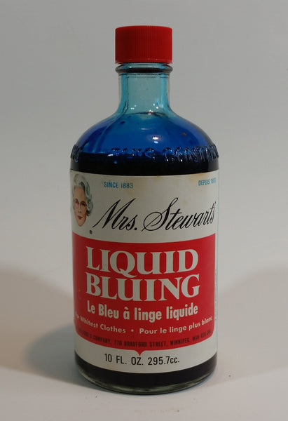 1970s Mrs. Stewart's Liquid Bluing Glass Bottle - Never Opened - Treasure Valley Antiques & Collectibles