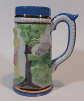 "1960s Blue and White with Gold Trim German Beer Stein Signed ""by ELM"""