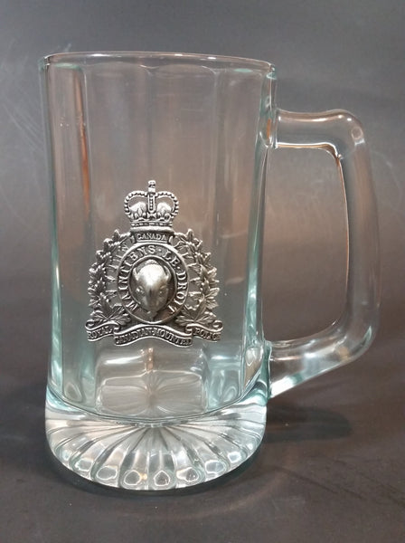 Vintage Clear Glass RCMP Royal Canadian Mounted Police Pewter Crest Beer Mug - Treasure Valley Antiques & Collectibles