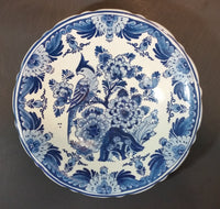 "Rare 1960s Konig Delft Blauw Holland Hand Painted Bird and Flowers Wall Plate - 8"" - Treasure Valley Antiques & Collectibles"