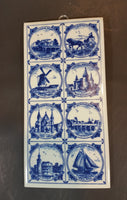 Rare West German Delft Style Scenes of Holland Double Length Porcelain Wall Tile - Treasure Valley Antiques & Collectibles