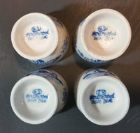 1940s H.S. Handpainted Delft Blue Windmill Decor Egg Holder Cup Set of 4 - Treasure Valley Antiques & Collectibles
