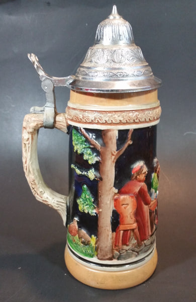 Vintage Jagerlatein German Stoneware  Lidded Beer Stein - Men Drinking At a Table - Treasure Valley Antiques & Collectibles