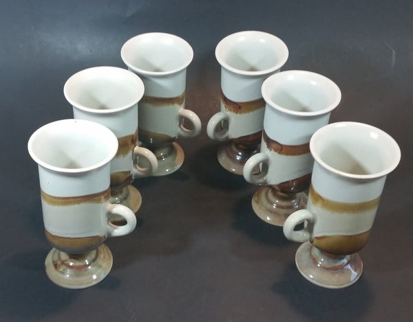 1970s Japanese Hand-painted Otagiri Stoneware Pedestal Coffee Mug Set of 6 - Treasure Valley Antiques & Collectibles