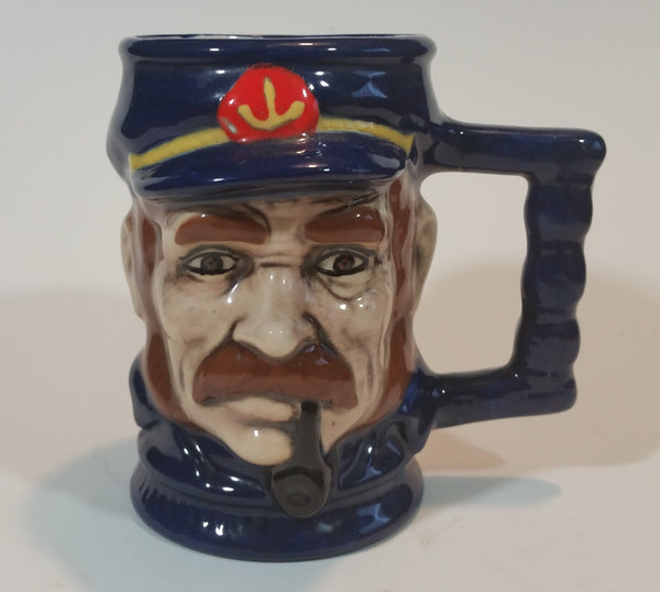 Vintage Rare Blue Handpainted German Sailor with Pipe Character Jug Stein - Treasure Valley Antiques & Collectibles