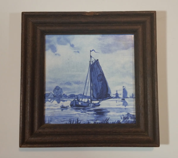 Vintage French Porcelain Ship Boat Framed Tile in Delft Blue Style - Treasure Valley Antiques & Collectibles