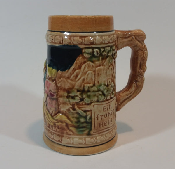 "1950s German Oktoberfest Beer Stein Woman and Man Sitting - Japan 5 3/8"" Tall - Treasure Valley Antiques & Collectibles"