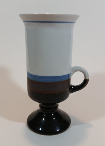 Vintage 1970s Japanese Hand-painted Otagiri Stoneware Pedestal Coffee Mug - Blue - Treasure Valley Antiques & Collectibles