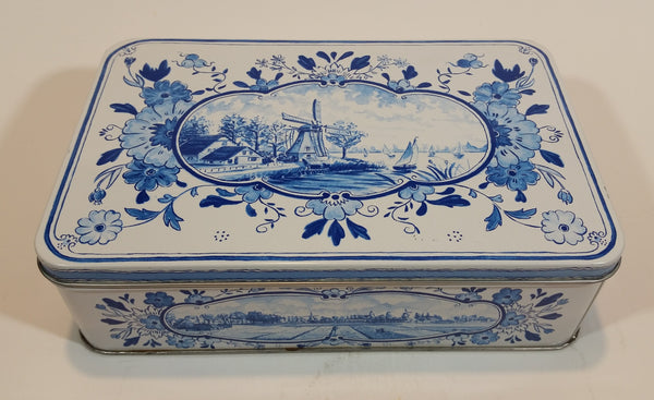 1960s Hellema Hallum Holland Biscuits Tin with Delft Style Scenery
