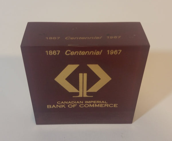 1967 CIBC (Canadian Imperial Bank of Commerce) Centennial Executive Lucite Paperweight - Treasure Valley Antiques & Collectibles