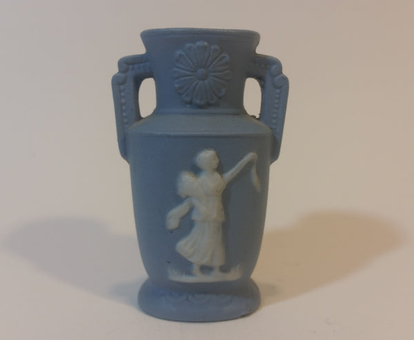 "Occupied Japan Greek Style Small 3"" Blue Cameo Vase - Treasure Valley Antiques & Collectibles"