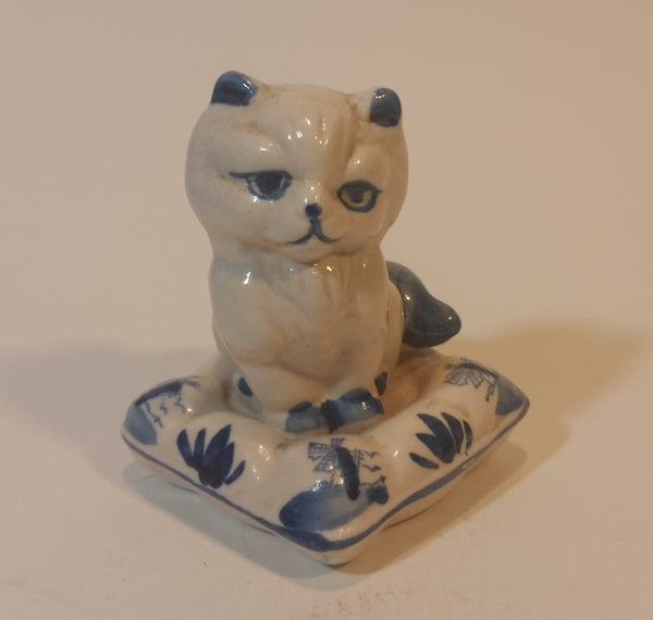 Vintage Delft Holland Cat on Windmill Pillow Figurine - Treasure Valley Antiques & Collectibles