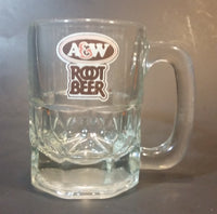 "1970s A & W Root Beer Logo 4 1/8"" Clear Glass Mug - Treasure Valley Antiques & Collectibles"