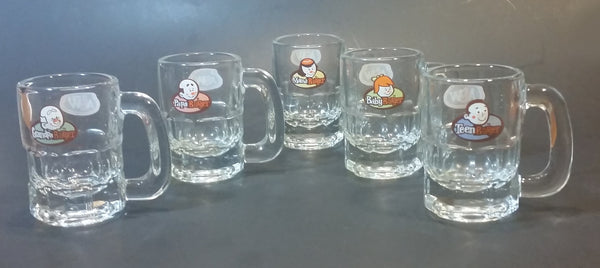 1990s Special Edition A & W Miniature Root Beer Mugs - Grandpa, Papa, Mama, Teen, Baby Set of 5