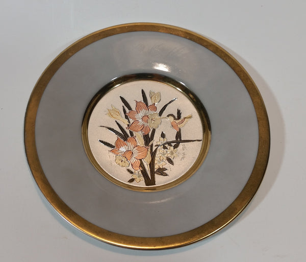 Vintage Hummingbird The Art of Chokin Plate 24KT Gold with Silver - Treasure Valley Antiques & Collectibles