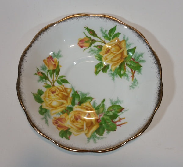"1950s Royal Albert ""Tea Rose"" Yellow Bone China Saucer Plate 839056 - Treasure Valley Antiques & Collectibles"