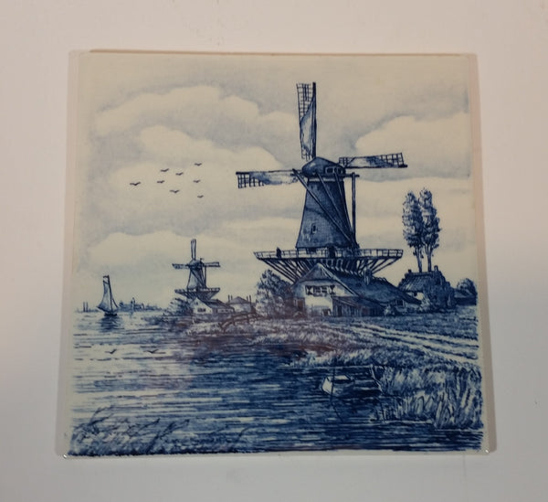 Vintage Delft Blue Hand Painted Windmill with Shoreline Holland Tile - Treasure Valley Antiques & Collectibles