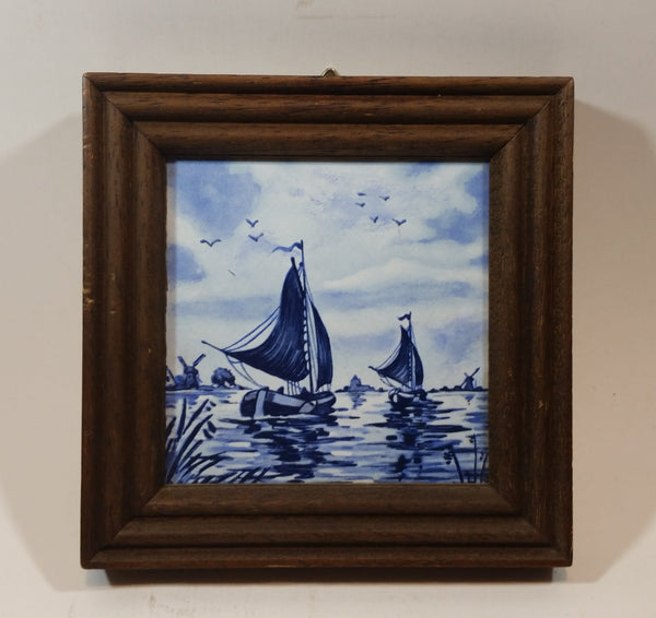 Vintage Villeroy & Boch Porcelain Ships Boats Framed Tile in Delft Blue Style - France - Treasure Valley Antiques & Collectibles