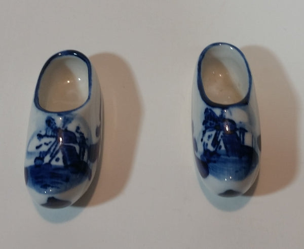 Vintage Delft Blue Miniature Hand Painted Porcelain Windmill Shoes Numbered 055 - Treasure Valley Antiques & Collectibles
