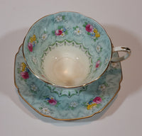 1930s Paragon Evangeline Aqua Blue Pattern Teacup and Saucer - Treasure Valley Antiques & Collectibles