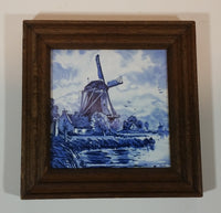 Villeroy & Boch Porcelain Windmill Cottage Shoreline Framed Tile in Delft Blue Style - France - Treasure Valley Antiques & Collectibles