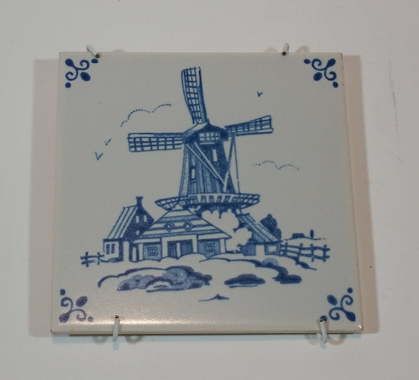 Vintage 1970s MOSA Delft Blue Windmill Tile - Treasure Valley Antiques & Collectibles