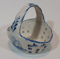 Vintage Delft Blue Handpainted Porcelain Windmill Basket - Designed By T.S. Holland - Treasure Valley Antiques & Collectibles