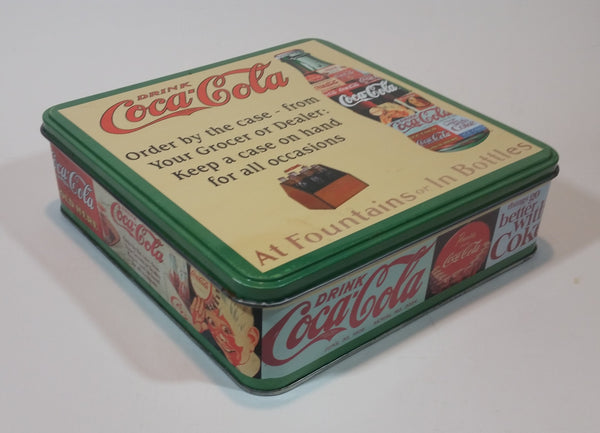 Vintage Drink Coca-Cola At Fountains or In Bottles Decorative Tin - Treasure Valley Antiques & Collectibles
