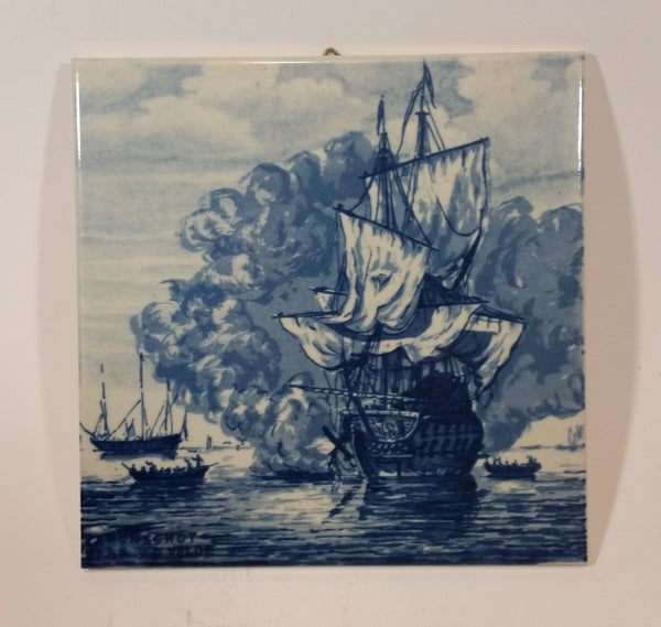 "1960s Delft Blauw Willem van de Velde Ship - ""The Cannon Shot"" Painting c.1670 - Treasure Valley Antiques & Collectibles"