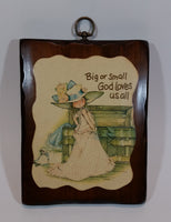 "Vintage Holly Hobbie ""Big or Small God Loves Us All"" Wooden Wall Plaque - Treasure Valley Antiques & Collectibles"