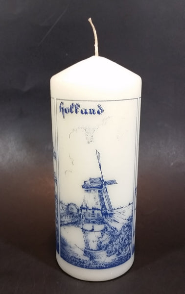 "Delft Blue Holland Windmill Decor 8"" Tall Wax Candle Unused - Like New - Treasure Valley Antiques & Collectibles"