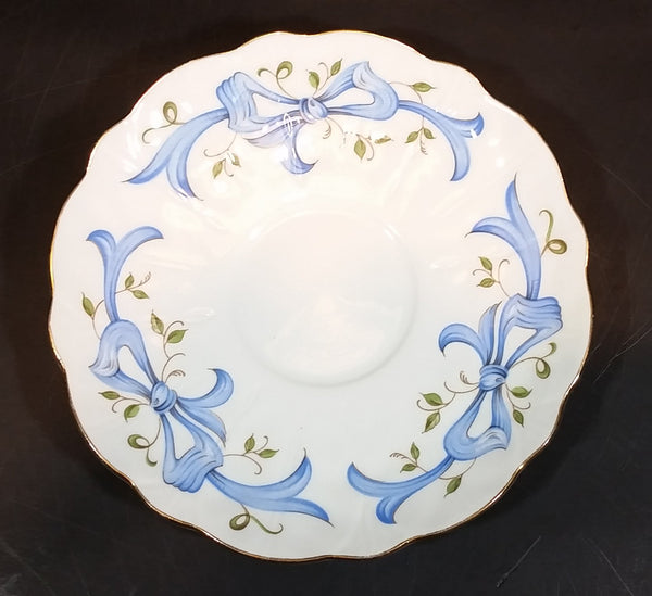 "1960s Aynsley Fine Bone China ""December Christmas Rose"" Saucer with Blue Bows and Vines - Treasure Valley Antiques & Collectibles"