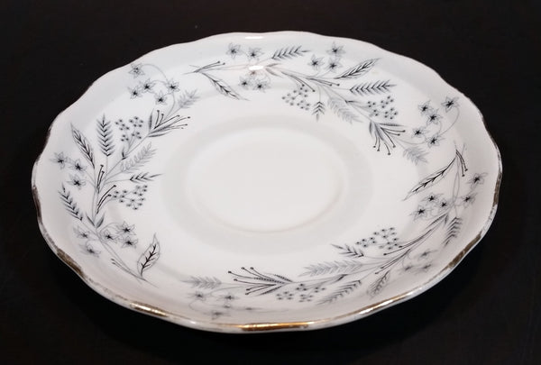 1960s Colclough Bone China Grey Lillies and Barley Gold Trim Saucer - Made in England
