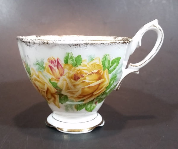 "1950s Royal Albert ""Tea Rose"" Yellow Bone China Footed Tea Cup 839056"
