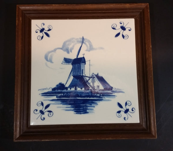 1980s West German Delft Blue Wooden Framed Windmill Canal Scene Tile