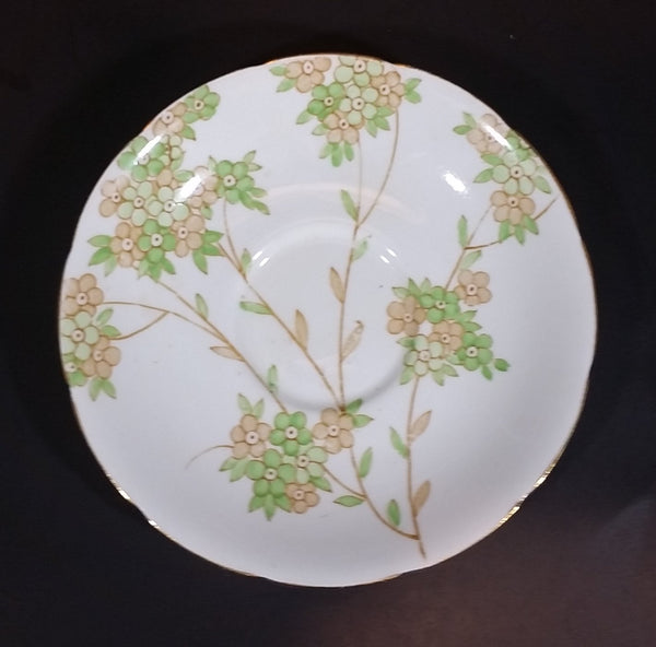Antique J.H.C. & Co. England Wellington Bone China With Peach and Mint Flower Vines Saucer - Treasure Valley Antiques & Collectibles