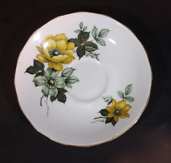 1959-1964 Queen Anne Bone China Yellow Roses and Teal Poppy Teacup Saucer 8520